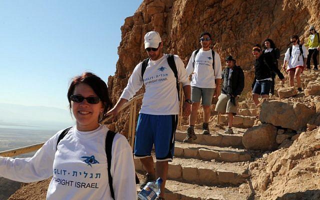 Illustrative photo of Birthright participants visiting Masada, summer 2012. (Taglit-Birthright/JTA)