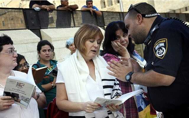Lesley Sachs, director of 'Women of the Wall' being detained and arrested for wearing a tallit at the Western Wall (photo: Miriam Alster / Flash 90)