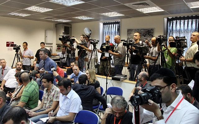 Illustrative: Reporters and photographers during a press conference at the Prime Minister's Office in Jerusalem in 2011. (photo credit: Mark Israel Sellem/Flash90)