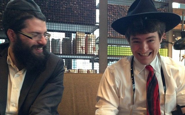 Two Jewish Portlanders enjoying their trip to a local Starbucks. (photo credit: Gil Shefler/JTA)
