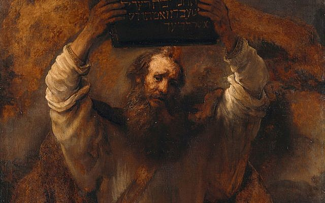 Rembrandt's Moses with the Ten Commandments,1659, Germaldegalerie, Staatliche Museen, Berlin (photo credit: Google Art Poject / Wikipedia Commons)