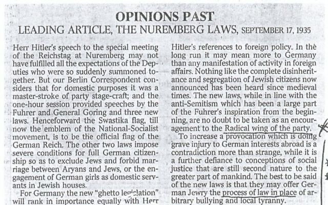 Scan from The Times of London Leading Article, The Nuremberg Laws, September 1935. Source: Brian of London scan.