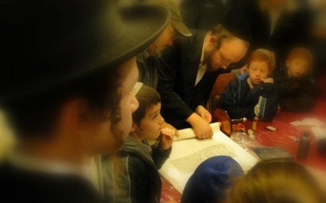 Many different kippahs and hats around the Torah