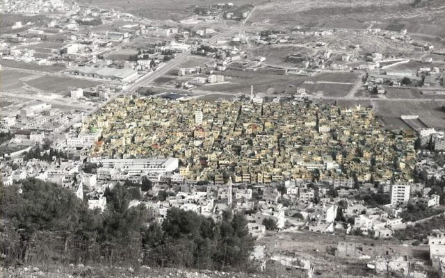 The Palestinian city of Nablus with refugee camps highlighted. Photo - Brian of London