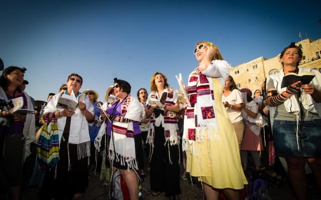 Women of the Wall recite the Shacharit morning prayer on Rosh Chodesh Av, 2013. (David Katz)