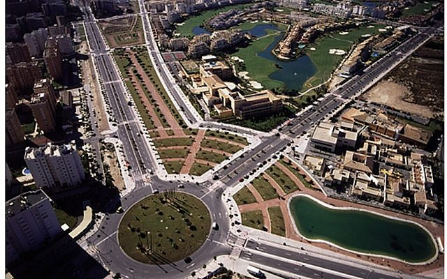 An aerial view of Alicante, Spain, where a Netafim system recycles wastewater and distributes it via a drip-irrigation system, watering all public areas in the southern Spanish town. (Courtesy Netafim)