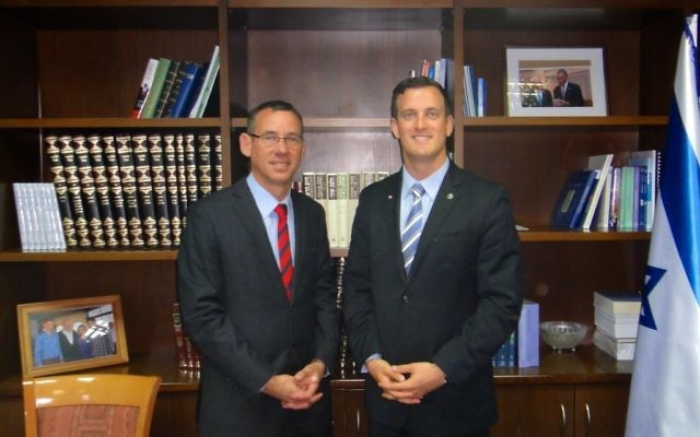 Mark Regev (L), international spokesman for the Prime Minister of Israel, with Robert Onley at the Prime Minister's Office in Jerusalem. (July 2013)