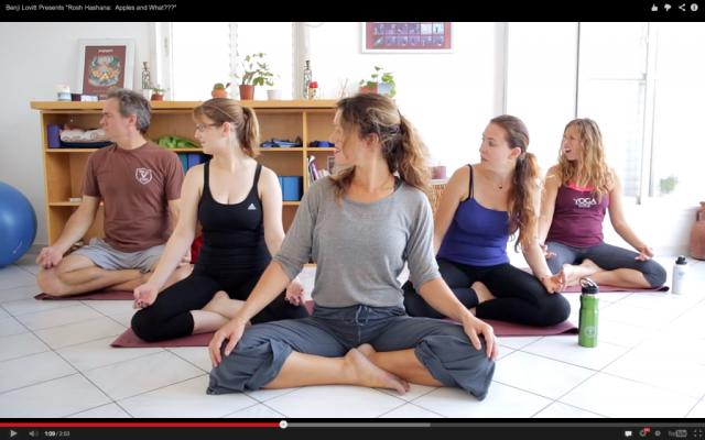 Apples and Yoga, as per Benji Lovitt (photo credit: Benji Lovitt, YouTube screenshot)
