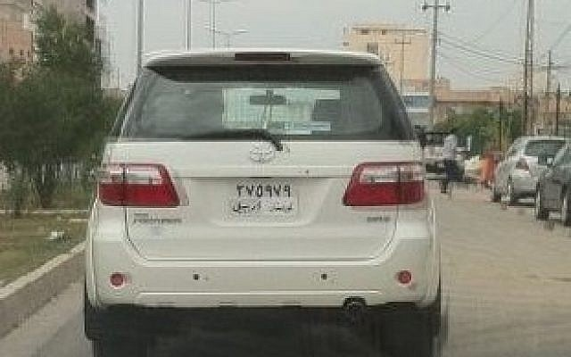 "A vehicle in Kurdistan with a homemade ""Kurdistan"" sticker covering the word ""Iraq"" on its license plate. (photo credit: Courtesy/Rebaz Hadi)"