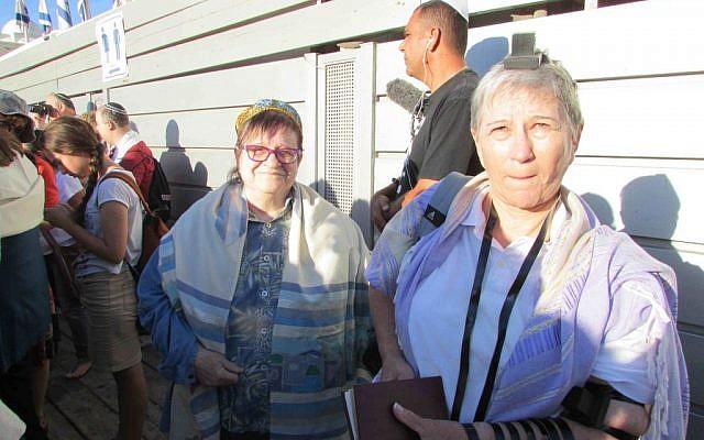 Two members of Women of the Wall (photo credit: Debra Kamin)