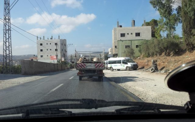 Driving in an Arab village in the Shomron