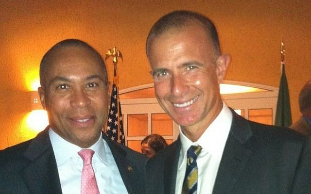 Israeli medical technology entrepreneur Ido Schoenberg, CEO of American Well (right), with former Massachusetts Governor Deval Patrick (photo courtesy: Alliance for Business Leadership)