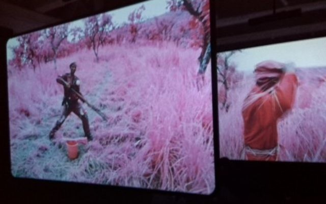 """Screens of videos from """"The Enclave"""" 2013 by Richard Mosse, video, photo by Ahuva Passow-Whitman"""