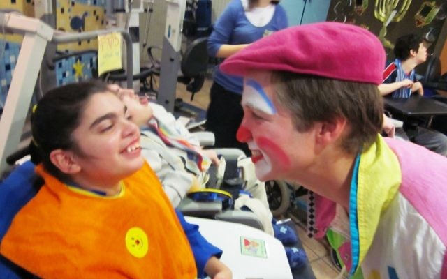 A clown makes Parents Day a fun time for children, too. (photo credit: Varda Epstein)