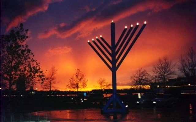 Chabad Menorah, Town Pointe Park, Norfolk, VA. (Photo: Levi Margolin)