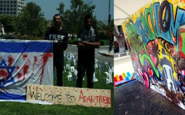 anti-Israel event (left) paired with mural during iFest
