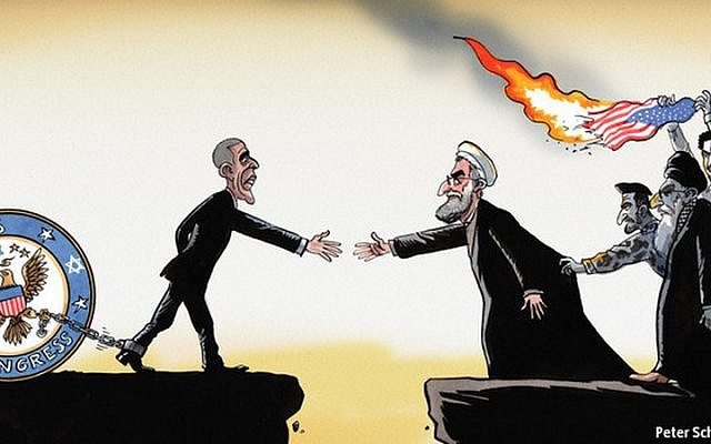 A cartoon published in The Economist portrays US President Barack Obama shackled to a Jewish-controlled Congress.