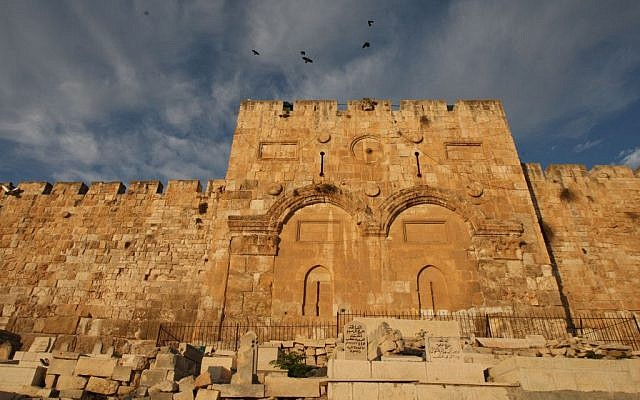 Birds fly over the Old City's sealed Golden Gate through which, according to Jewish tradition, the Messiah will enter Jerusalem (Photo credit: Keren Freeman/FLASH90)
