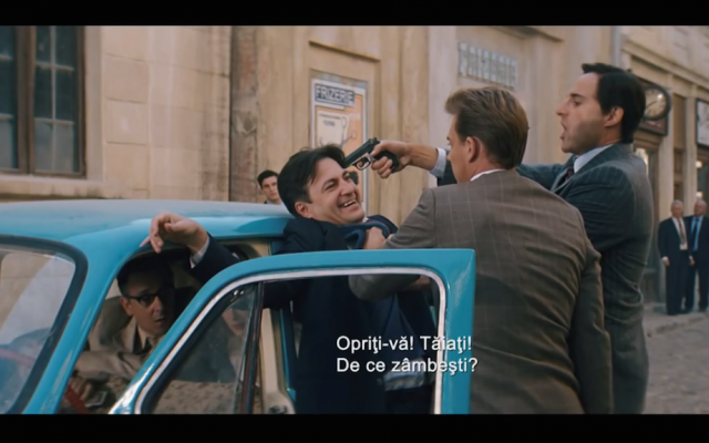 Screenshot from the new Romanian film, Closer to the Moon, about a band of Jews who pulled off a bank heist in broad daylight by pretending to shoot a Hollywood Western (YouTube)