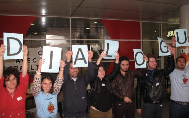 What Israel and UEJF students at Paris 8 University in response to BDS demo (Photo by Ido Daniel)