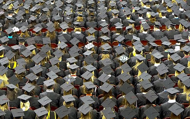 Illustrative photo of a college graduation ceremony. (photo credit: CC BY John Walker/Flickr)