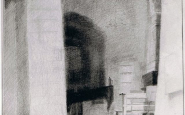 From the Women's Section, Menachem Tsion Synagogue, the Jewish Quarter, graphite 78 cm 50 cm © by Heddy Abramowitz