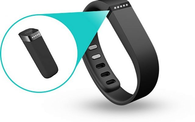 The Fitbit bracelet sensor records vital signs and exercise information (Photo credit: Courtesy)