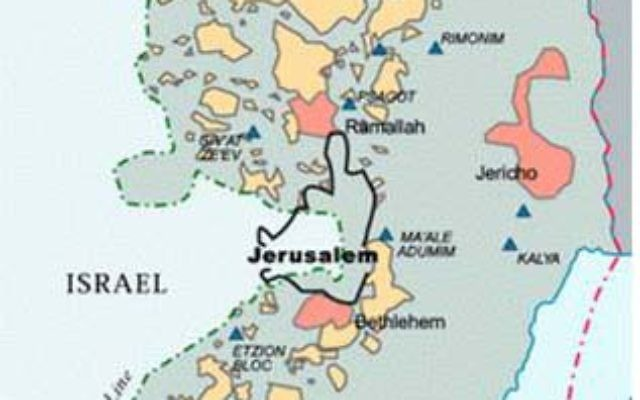 Based on the outdated Oslo II agreement, Palestinians areas A(pink) and B(yellow) are totally surrounded  by Israeli controlled area  C(grey), making 60% of the West Bank