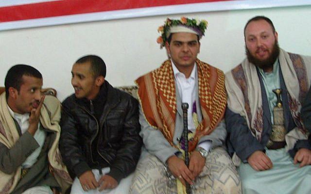 Journalist Steve Sotloff, far right, in Yemen, 2011. (photo credit: Facebook/Oren Kessler)