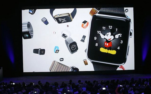 The Apple Watch introduced on stage at the Flint Center in Cupertino, California, on Tuesday, September 9, 2014 (screen capture: YouTube video)