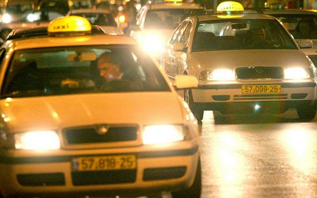 Illustrative photo of taxis in Jerusalem. (Photo by Moshe Shai/Flash90)