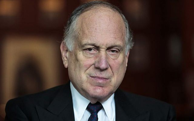 Ronald Lauder, president of the World Jewish Congress speaks during an interview with The Associated Press in Berlin, Saturday, Sept. 13, 2014.(Photo credit: AP/Markus Schreiber)