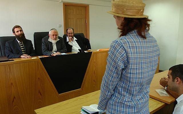 Illustrative: An Israeli rabbinical court reviews a conversion case. (Flash90)