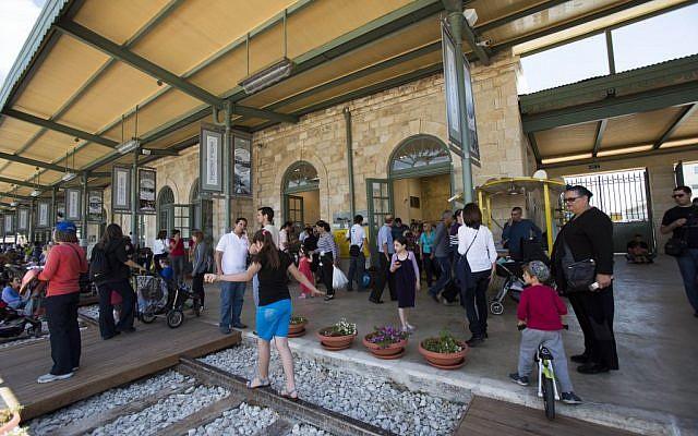 Jerusalem's First Station entertainment district, December 2013 (photo credit: Yonatan Sindel/Flash90)