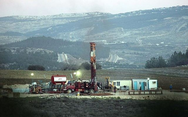 Illustrative photo of exploratory oil drilling near the village of Aderet near Beit Shemesh on Jan 6, 2010. (Photo credit: Yossi Zamir/Flash 90)