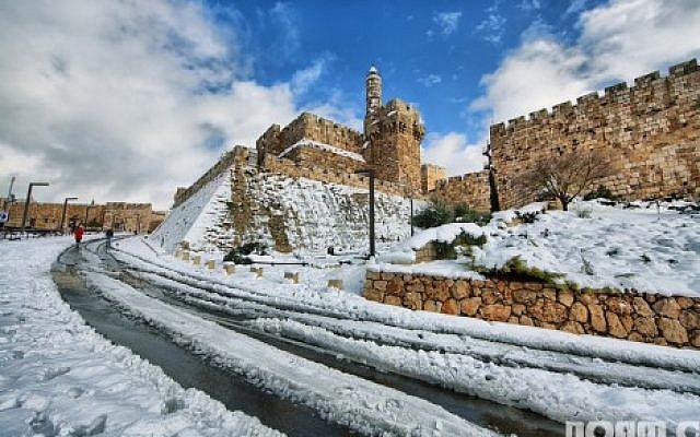 Jerusalem under the snow: Tower of David snowstorm (photo credit: Noam Chen)