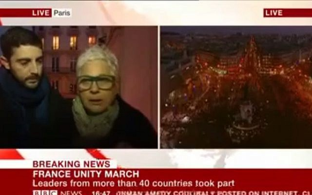 The BBC interviews a Jewish woman at the Paris rally on January 12, 2015 (photo credit: YouTube screenshot)