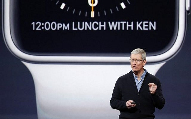Apple CEO Tim Cook announces the Apple Watch during an Apple special event at the Yerba Buena Center for the Arts on March 9, 2015 in San Francisco, California.  (photo credit: Stephen Lam/Getty Images/AFP)