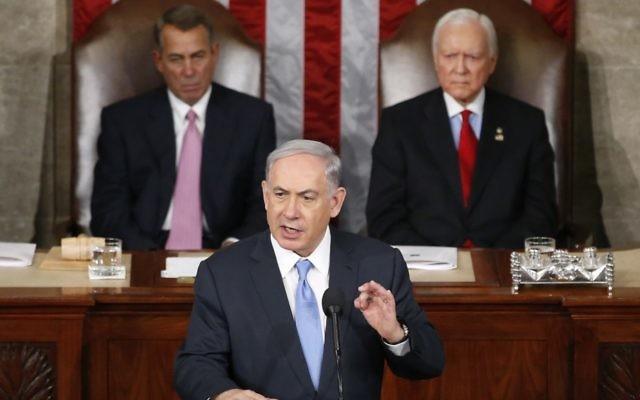 "Prime Minister Benjamin ""Bibi"" Netanyahu addresses the US Congress."