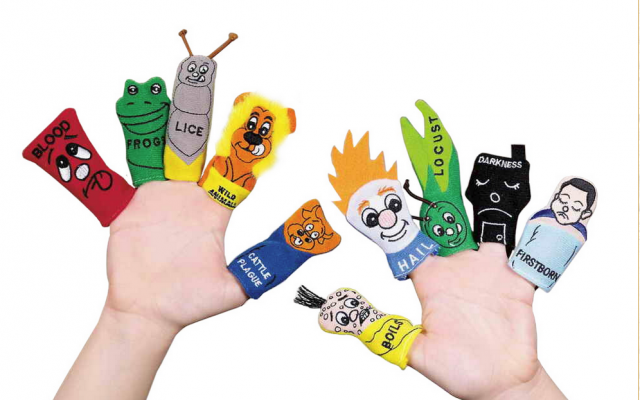 Passover toys, such as these Ten Plagues finger puppets, can help engage children in the seder. (photo credit: Traditions Jewish Gifts via JTA)