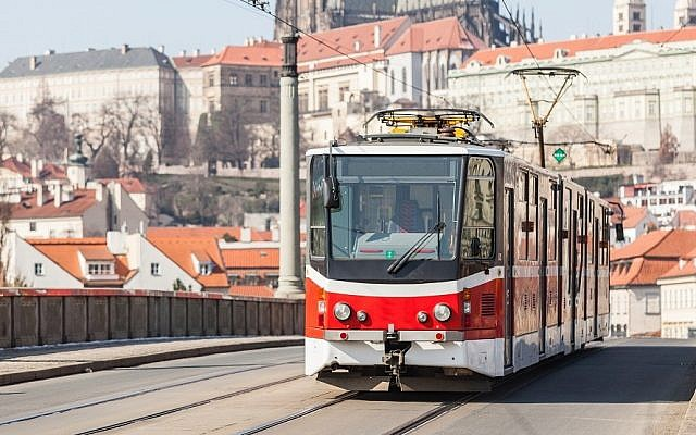 Illustrative photo of a light-rail train in Prague. (Photo credit: Prague tram image via Shutterstock)