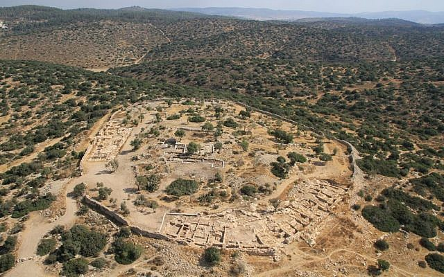 The site of Khirbet Qeiyafa in the Elah Valley. (Skyview Company/ courtesy, Hebrew University and Israel Antiquities Authority)