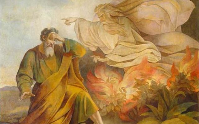 Illustrative: Moses and God, at the burning bush. (Painting from Saint Isaac's Cathedral, Saint Petersburg) by Eugene Pluchart
