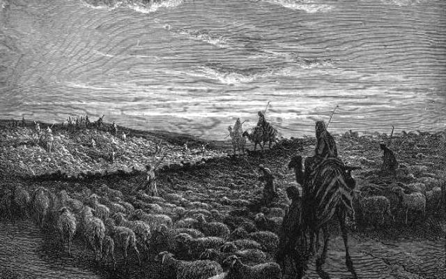 Abram Journeying into the Land of Canaan (engraving by Gustave Doré from the 1865 La Sainte Bible)