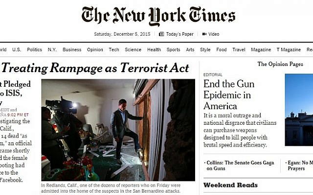 The front page of the New York Times website on December 5, 2015 (screen capture)