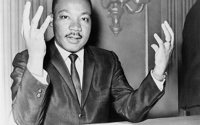 A November 1964 photo of civil rights leader Dr. Martin Luther King, Jr., speaking during a press conference about the movement he led until his assassination in 1968 (Wikimedia Commons)