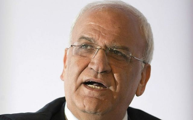 In this Friday, Dec. 11, 2015 file photo, Palestinian chief negotiator Saeb Erekat delivers a speech at the Mediterranean Dialogues Conference Forum, in Rome. (AP Photo/Andrew Medichini, File)