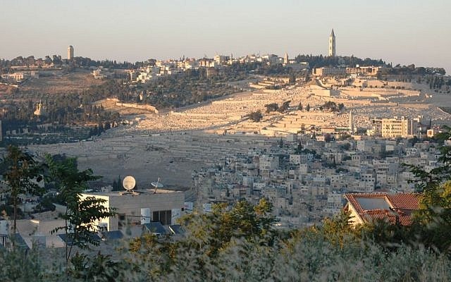 A view of Jerusalem's Mount of Olives from the Greek Compound in Abu Tor. (Sue Surkes/Times of Israel staff)