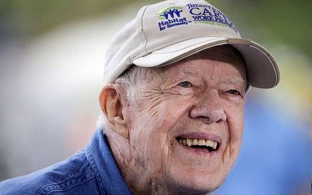 President Jimmy Carter during a Habitat for Humanity event in Memphis, Tennessee, November 2, 2015. (AP Photo/Mark Humphrey, File)