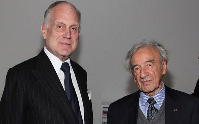 Ronald S. Lauder, President of the World Jewish Congress, with Elie Wiesel, April 29, 2012 in New York City (Courtesy World Jewish Congress)